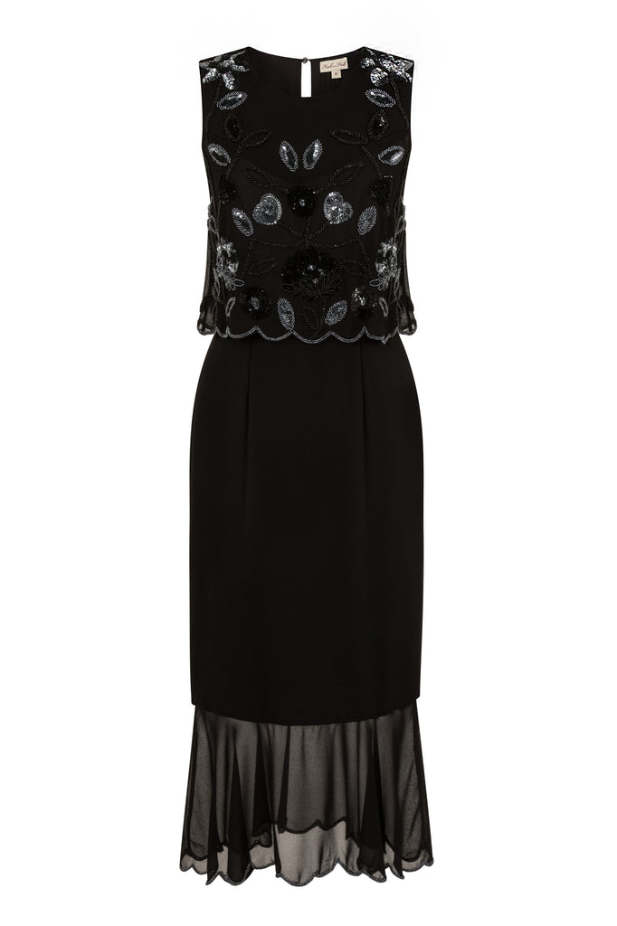 Fia Sleeveless Embellished Dress with Mesh Overlay