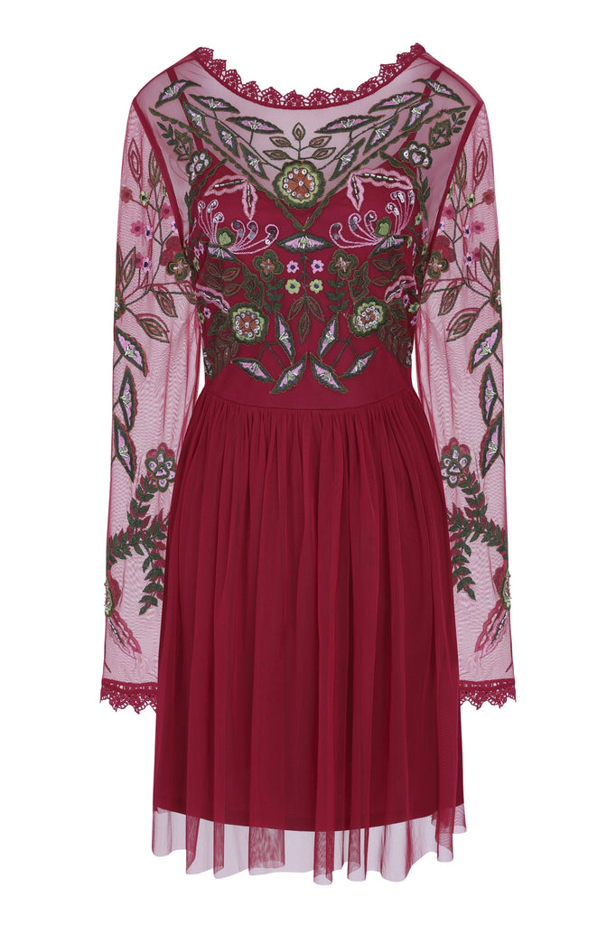 Gale Long Sleeve Embroidered Skater Dress