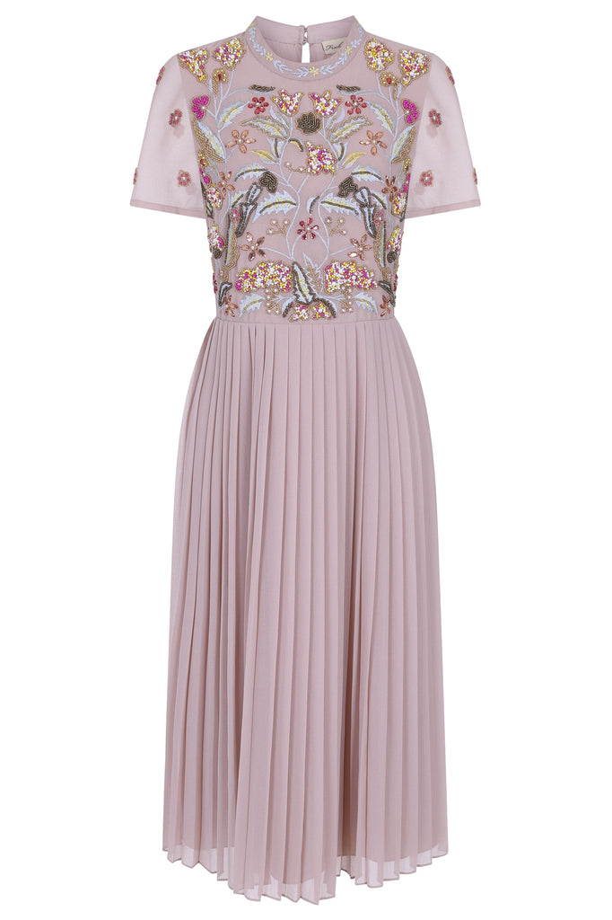 Galya Embellished Midi with Pleated Skirt