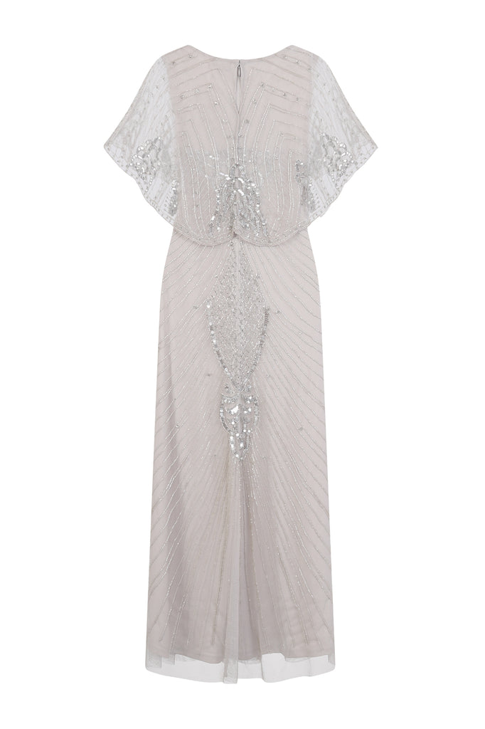 Fenna Embellished Maxi Dress with Cape Sleeve