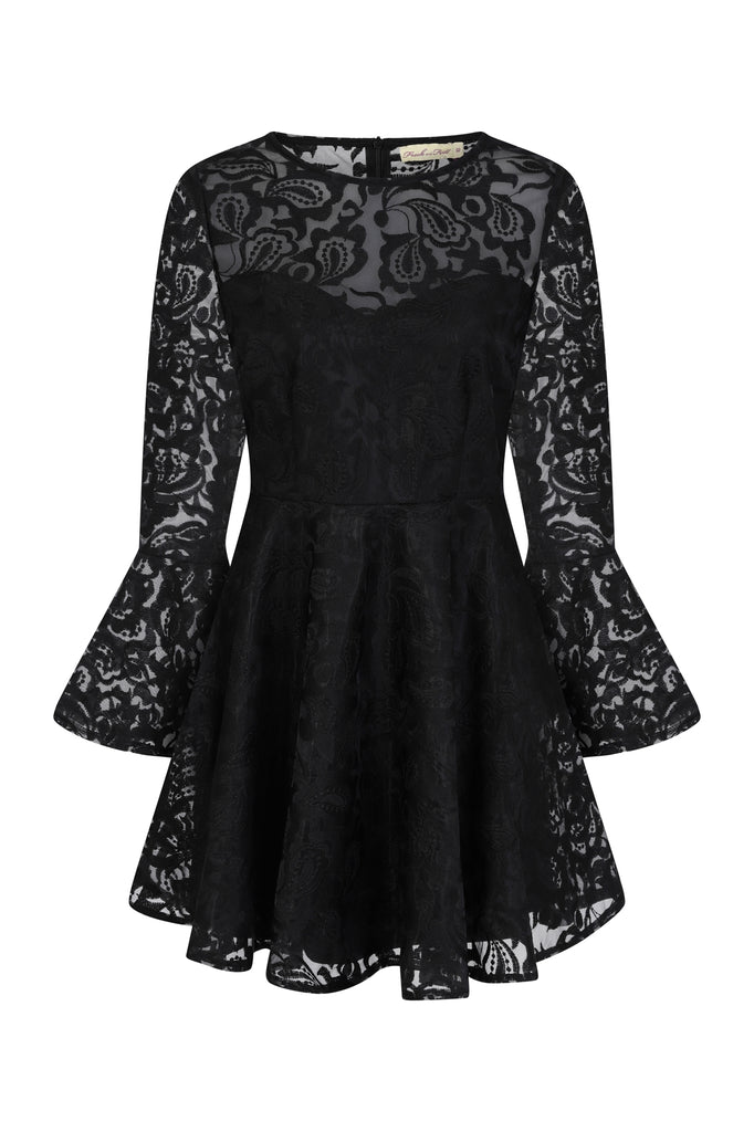 Fabiana Lace Long Sleeve High Neck Skater Dress