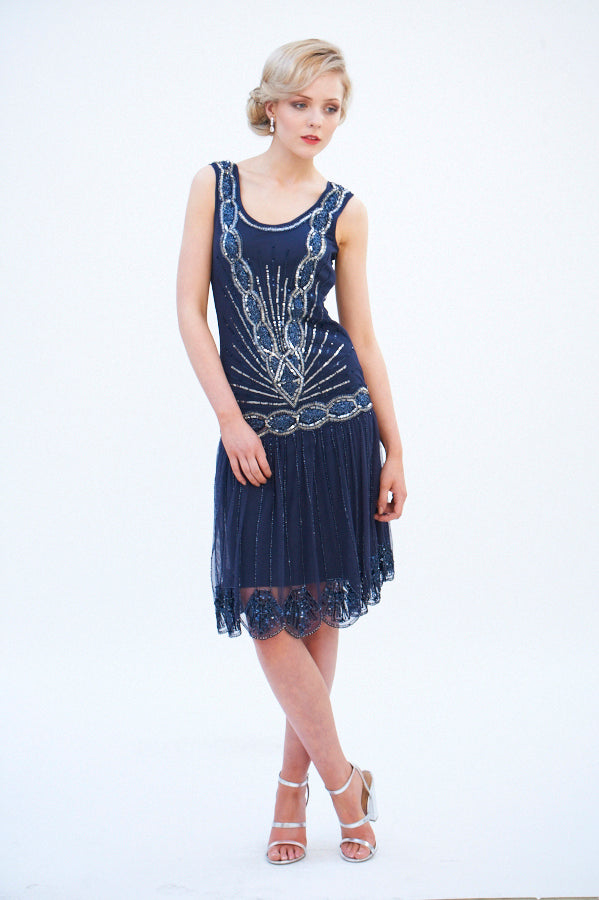 Zelda Flapper Dress Navy