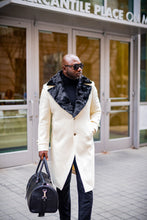 Load image into Gallery viewer, WIDE COLLAR FUR TRIMMED WOOL TRENCH COAT (CREAM)