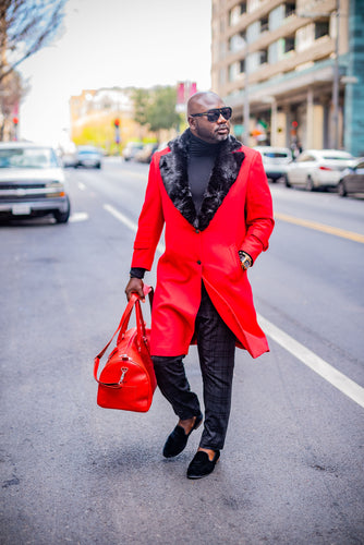 WIDE COLLAR FUR TRIMMED WOOL TRENCH COAT (RED)