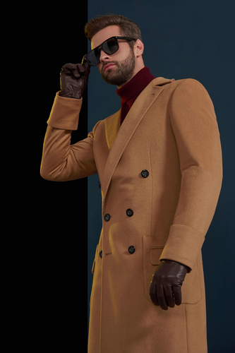 CAMEL DOUBLE BREASTED OVERCOAT