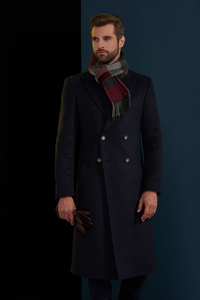 NAVY DOUBLE BREASTED WOOL OVERCOAT