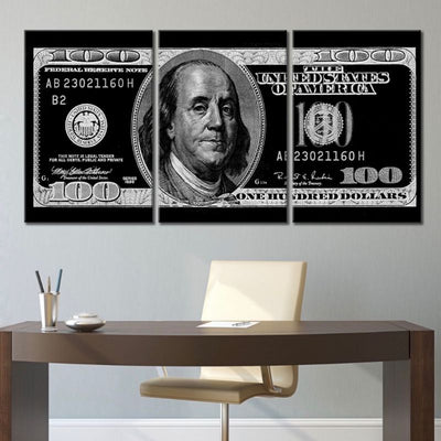 100 Dollar Bill Picture in 3 piece wall art black and white