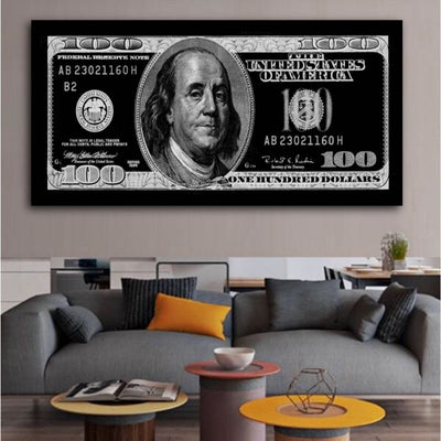 100 Dollar Bill Picture large wall art canvas black and white