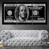 100 Dollar Bill Picture wall art set of 3 black and white