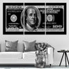 100 Dollar Bill Picture in 3 piece canvas art black and white