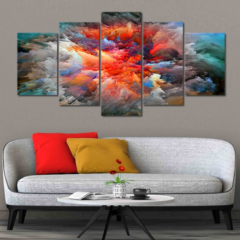 Abstract Red Explosion 5 piece Canvas Wall Art
