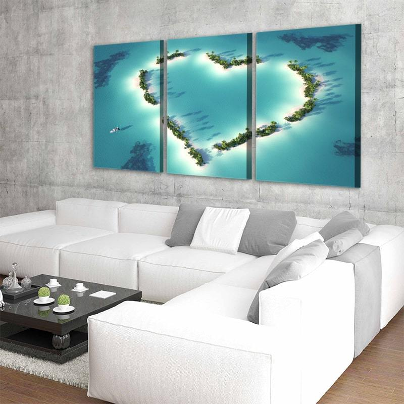 Aerial View Heart Shaped Island 3 Piece Canvas Set