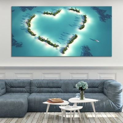 Aerial View of Heart Shaped Island 1 Panel Canvas Wall Art