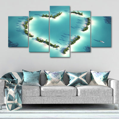 Aerial View of Heart Shaped Island Multi Panel Canvas Wall Art