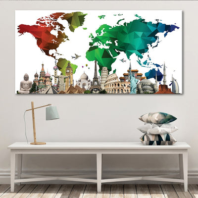 Colorful World Map Monuments Multi Panel Canvas Wall Art