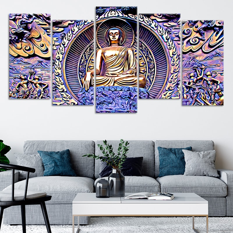 Gautama Buddha 5 piece canvas art