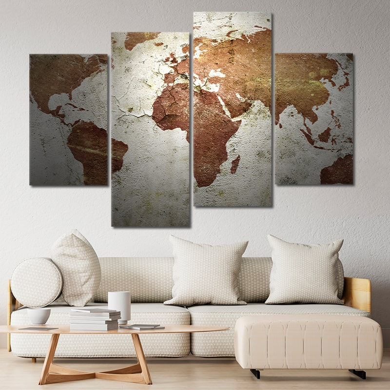 Grunge World Map Multi Panel Canvas Wall Art