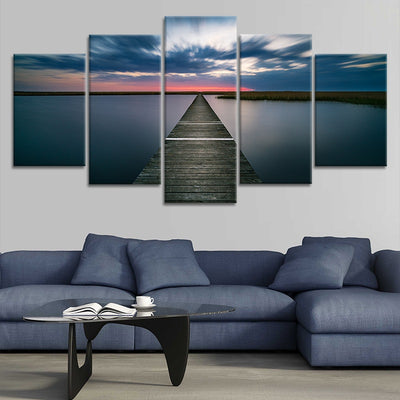 Lake Pier at Dusk Canvas Wall Art