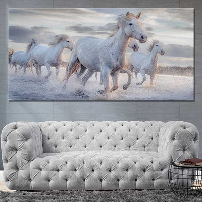 Pack Of Horses Multi Panel Canvas Wall Art 1 piece