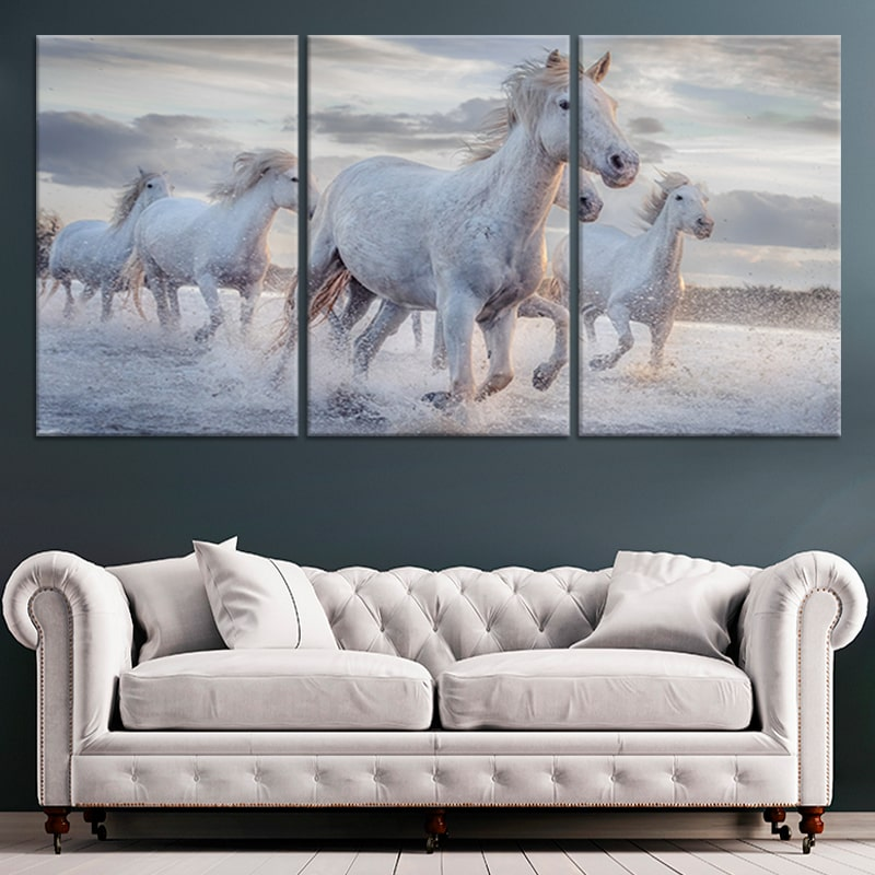 Pack Of Horses Multi Panel Canvas Wall Art
