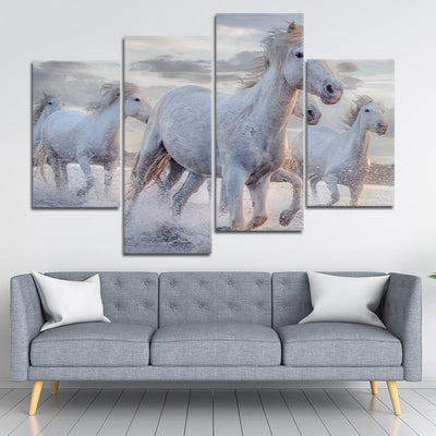 Pack Of Horses Multi Panel Canvas Wall Art 4 pieces