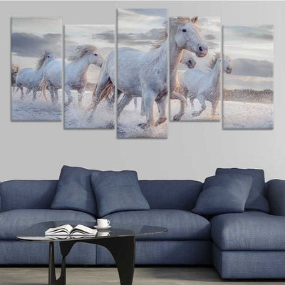 Pack Of Horses Multi Panel Canvas Wall Art 5 pieces stagger