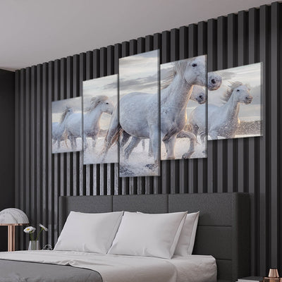 Pack Of Horses Multi Panel Canvas Wall Art 5 pieces
