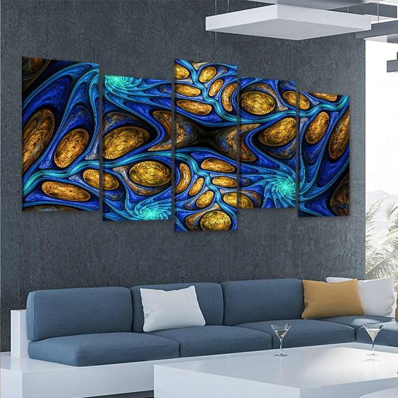 Psychedelic Abstract Fractal 5 piece wall art