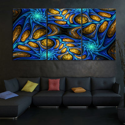 Psychedelic Abstract Fractal 3 piece wall art
