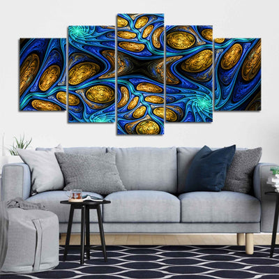 Psychedelic Abstract Fractal 5 piece canvas art