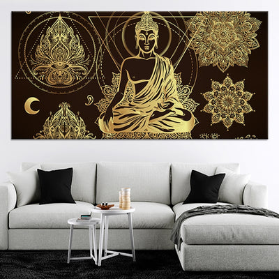 Relaxed Buddha Multi Panel Canvas Wall Art 1 piece