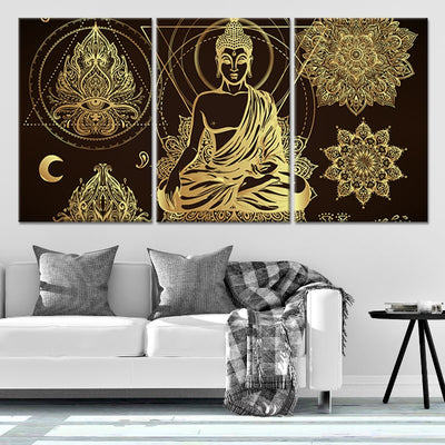 Relaxed Buddha Multi Panel Canvas Wall Art 3 pieces
