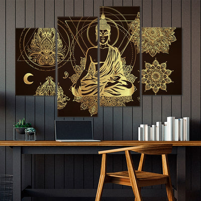 Relaxed Buddha Multi Panel Canvas Wall Art 4 pieces