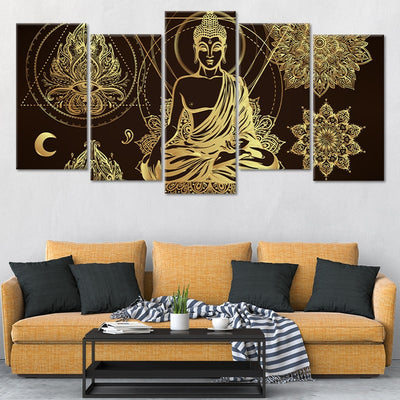 Relaxed Buddha Multi Panel Canvas Wall Art 5 pieces stagger