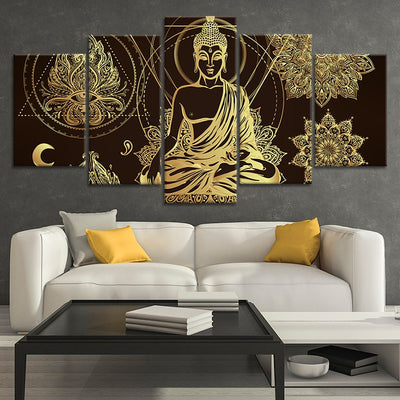Relaxed Buddha Multi Panel Canvas Wall Art 5 pieces
