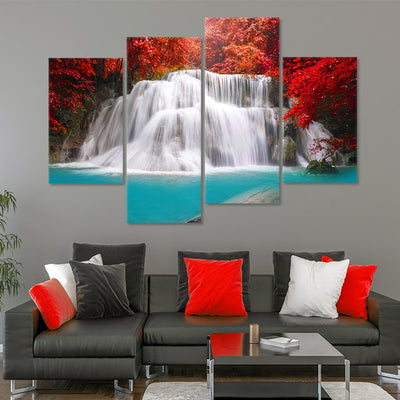 Thailand Blue Waterfall Multi Panel Canvas Wall Art