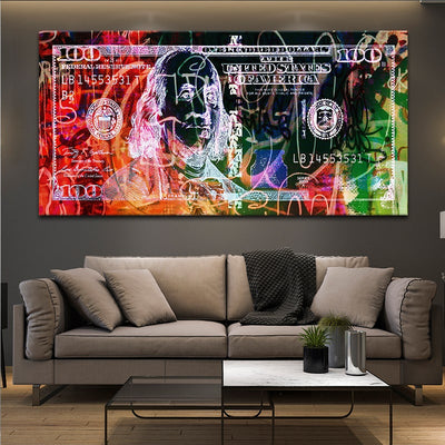 Abstract 100 Dollar Bill Picture large wall art canvas