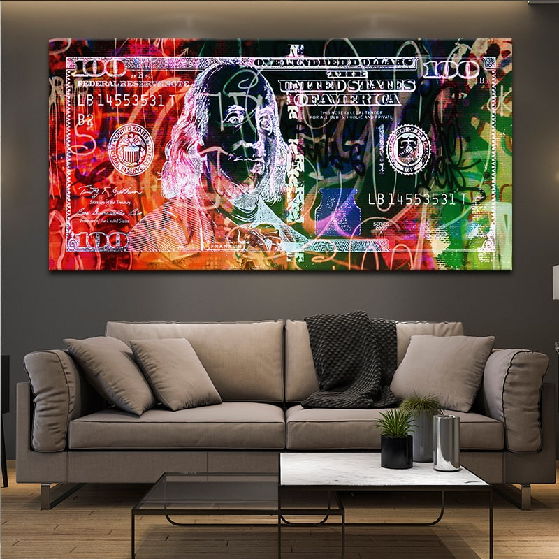 Abstract 100 Dollar Bill Picture in 3 piece wall art