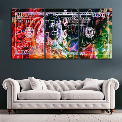 Abstract 100 Dollar Bill Picture in 3 piece canvas art