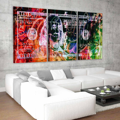 Abstract 100 Dollar Bill Picture wall art set of 3