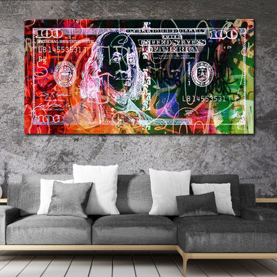 Abstract 100 Dollar Bill Picture canvas wall art large