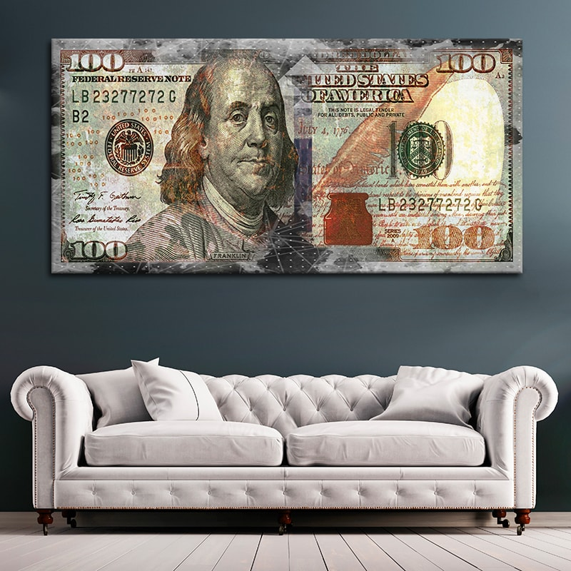 Ben Franklin Abstract 100 Dollar Bill Canvas Wall Art