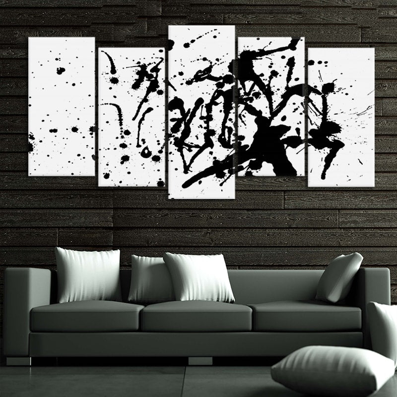 Black Paint Splash multi panel wall art