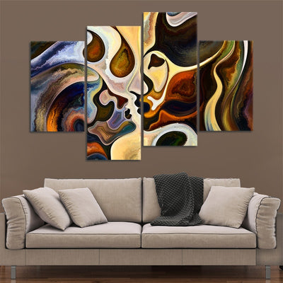 Abstract Couple Kissing Canvas Wall Art