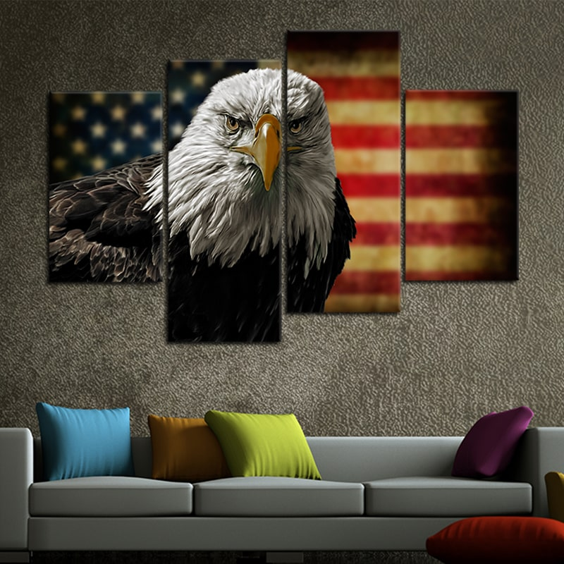 American Flag Bald Eagle 5 piece wall art