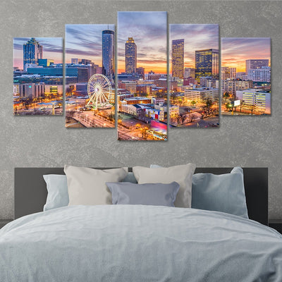 skyline of atlanta 5 piece canvas art
