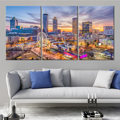 atlanta skyline 3 piece wall art