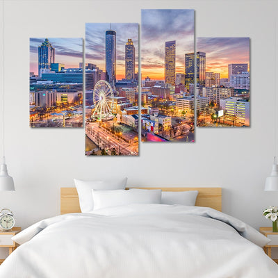 atlanta skyline wall art set of 4