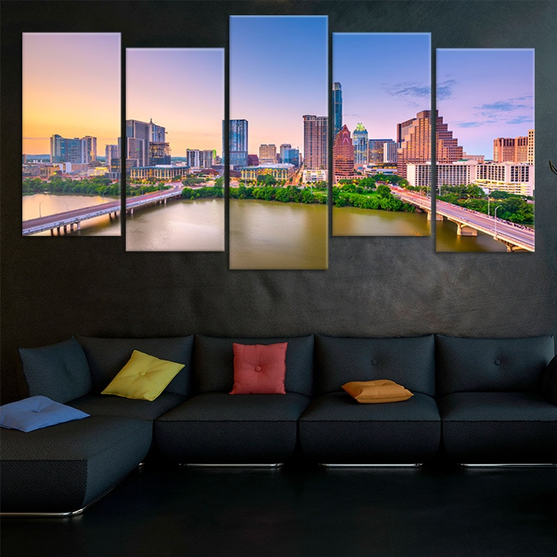 austin skyline 5 piece wall art