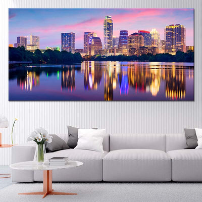 Austin Skyline At Night canvas wall art large